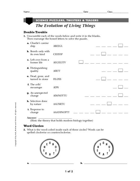 the evolution of living things science puzzlers twisters teasers worksheet for 5th 8th. Black Bedroom Furniture Sets. Home Design Ideas