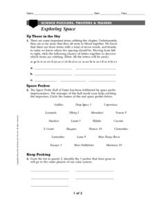 Exploring Space-Science Puzzlers, Twisters & Teasers Worksheet
