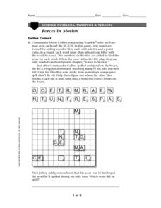 Forces in Motion-Science Puzzlers, Twisters & Teasers Worksheet