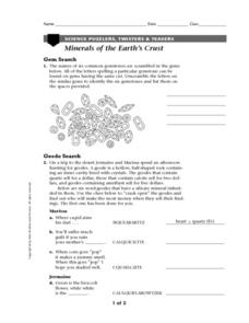 Minerals of The Earth's Crust Worksheet