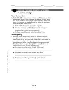 Atomic Energy Worksheet