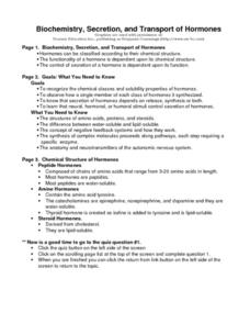 Biochemistry, Secretion, and Transport of Hormones Worksheet