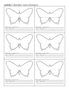Butterflies--Lines of Symmetry Worksheet