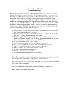 Journal Assignment Directions Worksheet