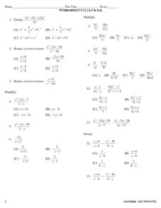 Worksheet #11:  Dividing Polynomials Lesson Plan