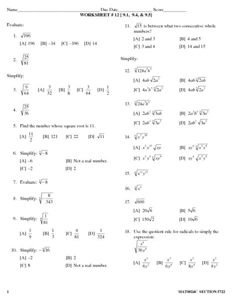 Worksheet 12 Simplifying Radicals Lesson Plan For 9th