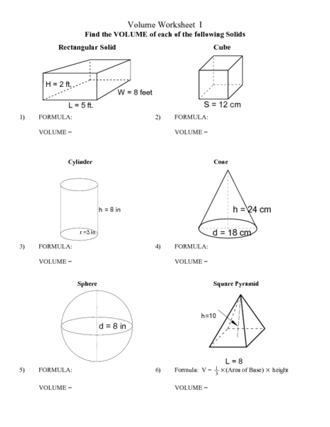 Volume Worksheet I Lesson Plan For 8th 9th Grade