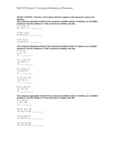 Solving by Substitution or Elimination Lesson Plan