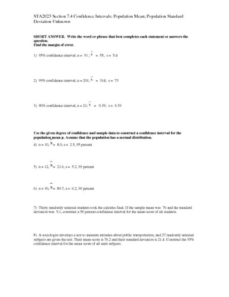 Worksheets Confidence Interval Worksheet confidence interval worksheet rringband delibertad