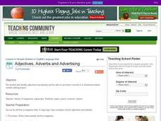 Adjectives, Adverbs and Advertising Lesson Plan