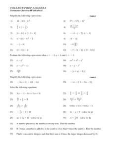 College Prep Algebra Semester Review Worksheet Lesson Plan