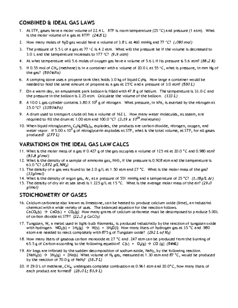 Ideal Gas And Combined Gas Law Worksheet - combined gas law and ...