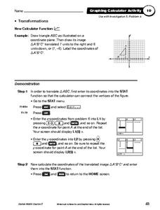 Graphing Calculator Activity: Transformations Worksheet