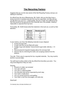 The Recycling Factory Worksheet