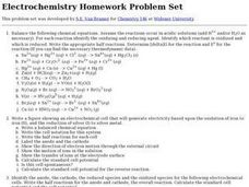Electrochemistry Homework Problem Set Worksheet