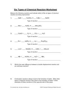 Chemical Reaction Worksheet