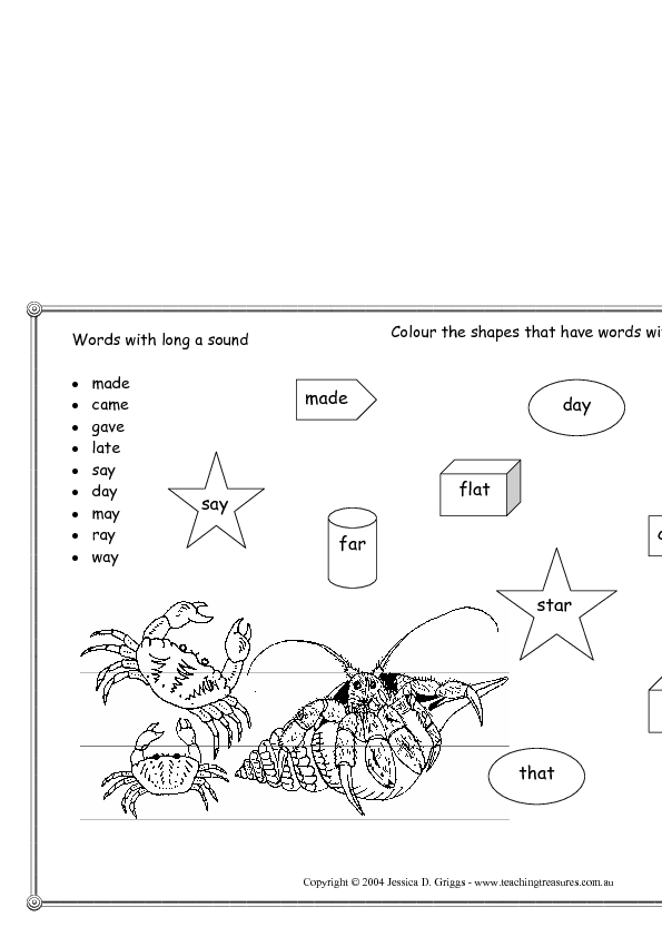 Words with a Long Sound Worksheet