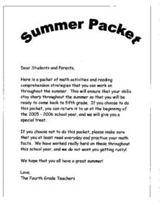 Summer Packet - Math & Reading Lesson Plan