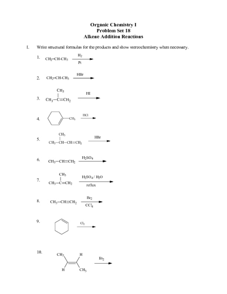 Alkene Addition Reactions-Problem Set 18 Lesson Plan