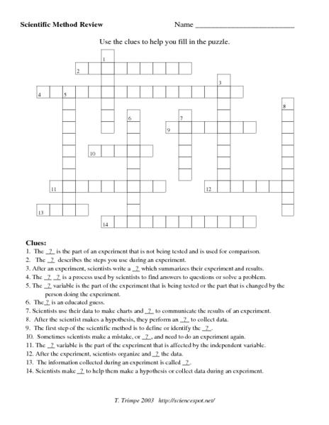 scientific method review crossword