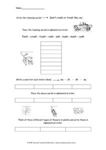 Rhyming Word and Alphabetizing Activity Worksheet