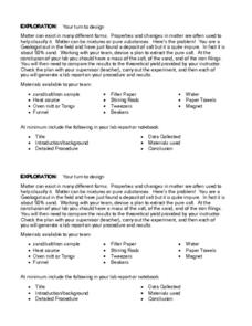 Exploration/ Separation of Mixtures Worksheet