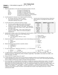 Mass and Measurement Worksheet Worksheet