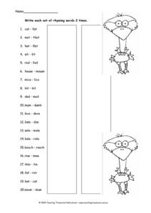 Rhyming Words Practice Worksheet