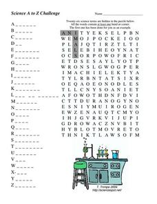 Science a To Z Challenge Worksheet for 5th - 8th Grade ...