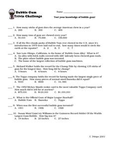 Bubble Gum Trivia Challenge Worksheet