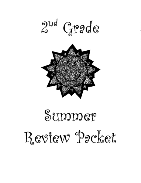 2nd Grade Summer Review Packet Lesson Plan for 3rd Grade