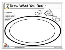 Draw What You See: It's a Pizza! Worksheet