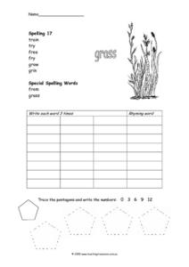 Spelling Activity and Tracing Pentagons Worksheet
