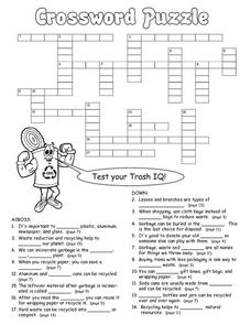 Test Your Trash IQ Crossword Puzzle Worksheet