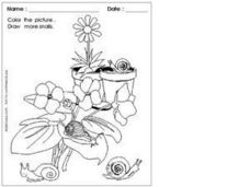 Coloring: Snails in the Garden Worksheet