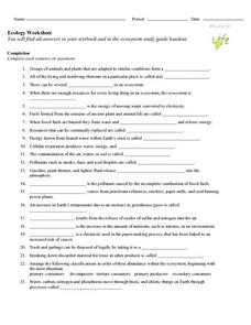 Ecology Worksheet Worksheet