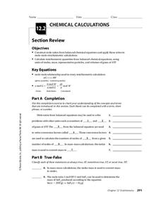 Chemical Calculations Worksheet
