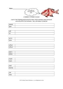 Correct Word Usage Worksheet