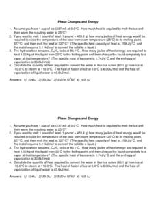 Phase Changes and Energy Worksheet Worksheet