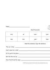 Read The Sentence, Copy the Sentence Worksheet