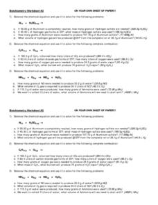 Stoichiometry Worksheet #2 Worksheet