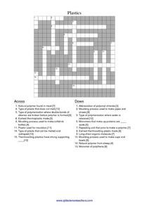 Plastics Crossword Worksheet