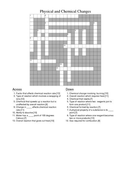 Physical And Chemical Changes Crossword Worksheet For 8th