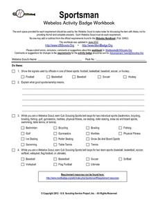 Sportsman: Webelos Activity Workbook Worksheet