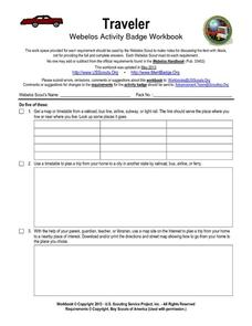 Traveler: Webelos Activity Workbook Worksheet