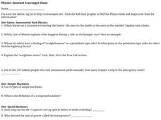 Physics Internet Scavenger Hunt Worksheet