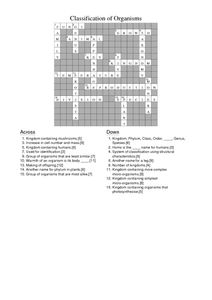 Classification Of Organisms Crossword Answers Worksheet For 6th