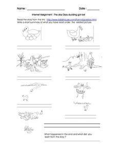 INTERNET ASSIGNMENT: THE DAY DIZZY DUCKLING GOT LOST Worksheet