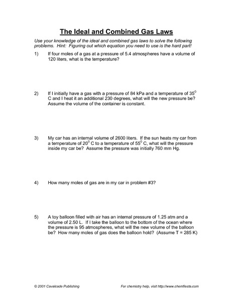 The Ideal and Combined Gas Laws Worksheet for 11th - 12th Grade ...