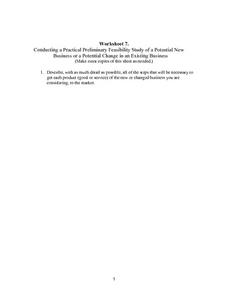 Feasibility Study For a New Business Worksheet